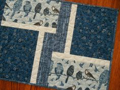 Blue Birds Quilted Table Runner Birds and Flowers by susiquilts