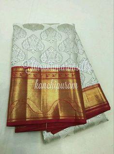 Gorgeous #kanjivarams from #Thirukumaransilks,can reach us at +919842322992/WhatsApp or at thirukumaransilk@gmail.com for more collections and details Baluchari Saree, Kanjivaram Sarees, Kanchipuram Saree, Bollywood Saree, Bollywood Fashion, Sabyasachi, Gold Silk Saree, Wedding Silk Saree, White Saree