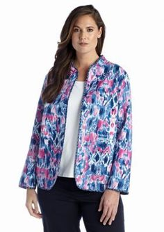 Alfred Dunner  Plus Size Bon Voyage Collection Ikat Print Quilt Jacket