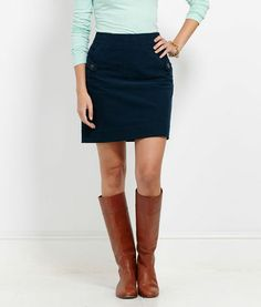looks cute with riding boots  Women's Skirt Shop: Cord Button Skirt for Women - Vineyard Vines