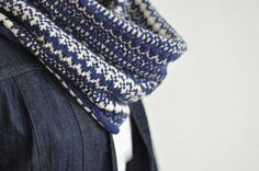 Delft blue stranded colorwork cowl. Swoon