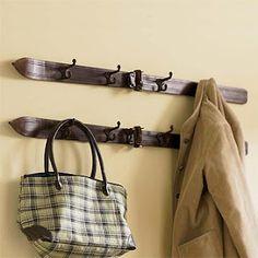 Upcycled skis into coat rack / hooks