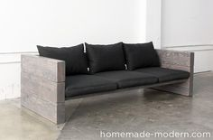 HomeMade Modern DIY Outdoor Sofa: Modern outdoor sofas can be quite expensive. I made this sturdy DIY couch from solid wood outdoor sofa cushions from IKEA and grey Minwax wood stain for a nice finish. Rustic Outdoor Sofas, Outdoor Sofa Cushions, Diy Outdoor Furniture, Furniture Ideas, Cheap Furniture, Discount Furniture, Outdoor Sectional, Furniture Stores, Blue Sectional