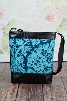 Fekete - kék mintás  textilbőr táska, Táska, Tarisznya, Válltáska, oldaltáska, Meska