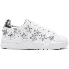 Chiara Ferragni Stars Sneaker ($325) ❤ liked on Polyvore featuring shoes, sneakers, lace up sneakers, leather upper shoes, laced up shoes, glitter shoes and glitter trainers