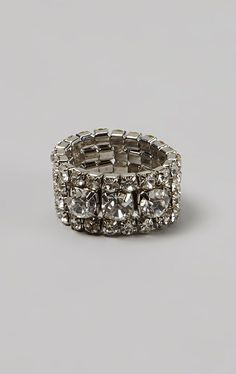Silver Rhinestone Layered Stretch Ring