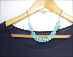 Blue chalcedony necklace with gold sea green by RockRhapsody, $98.00