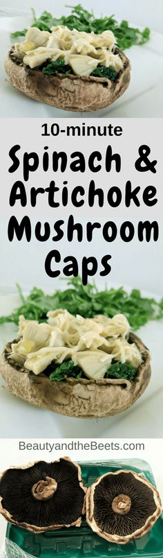 10-minute Spinach Artichoke Mushroom Caps Beauty and the Beets #MeatlessMonday