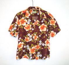 vintage 60's / brown floral / hawaiian shirt / bark cloth / aloha wear / by ui makai / made in hawaii