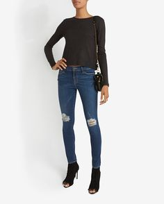 rag & bone/JEAN Crop Rib Long Sleeve Tee: Charcoal | Shop IntermixOnline.com