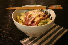 Spicy tuna roll in a bowl