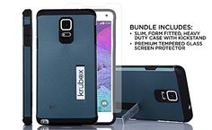 cool Krubox Slim Bevel bundle for Samsung Galaxy note 4, shockproof black armor phone case with kickstand, Tough Heavy Duty dual layered bumber system, air cushion technology, includes premium tempered glass screen cover [AT&T, Verizon, Sprint, T-Mobile], 100% money back guarantee (Blue Steel) Check more at…