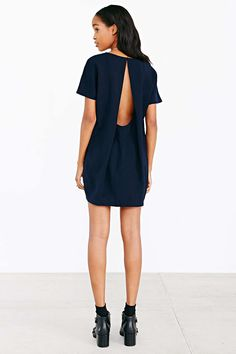 """Silence + Noise: Open-Back Woven Tee Dress in """"Navy"""" / """"Essential maxi tee dress from Silence + Noise. Relaxed fit cut long + loose with a v-neck and carved armholes."""" / $69.00"""