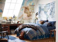What? Don't all college kids hang maps all over their rooms and make their beds every day??? | Community Post: Pottery Barn Has No Idea What Actual College Dorms Are Like