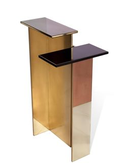PSMMXVICS1 by privatiselectionem.com ; Freestanding console in polished brass…