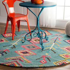 nuLOOM Contemporary Handmade Wool/Viscose Moroccan Triangle Turquoise Rug (6' Round) (Turquoise), Beige, Size 6' x 6' (Natural Fiber, Abstract)