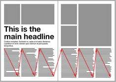 """Magazine Spreads – Good and Bad Practices,"" by Nikola at Magazine Designing. This grid layout is an example of a good text flow. Page Layout Design, Magazine Layout Design, Graphic Design Layouts, Graphic Design Inspiration, Magazine Layouts, Design Posters, Editorial Design Layouts, Newspaper Layout, Newspaper Design"