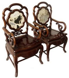 Antique Chinese Pair Of Hardwood Chairs W/ Marble