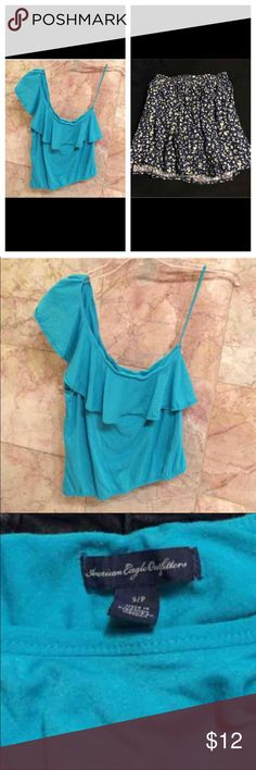 American eagle bundle Both from American eagle outfitter. Super cute skirt, NWOT, never worn-One Size. Adorable turquoise one shoulder top only worn a few times in excellent condition. American Eagle Outfitters Tops Blouses