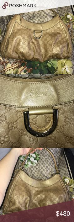 """LOWEST!! Used Gucci gold Guccissima leather bag Authentic Gucci gold signature """"GG"""" Guccissima leather D Gold large hobo handbag. Flaw in last pic does not interfere w usability of bag. gold-tone hardware, gold leather trim and accents, a single rolled leather top handle (7"""" drop), a Gucci D ring accent on front, and a top zipper closure with gold leather zipper pull. Interior is lined in dark brown fabric with a side zipper pocket. Made in Italy. Serial 189833 492783. Feel free to request…"""