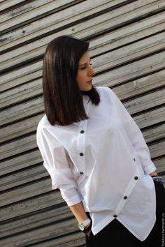 Купить Асимметричная рубашка B0002 - белый, белая рубашка, черная рубашка, рубашка, асимметричная рубашка