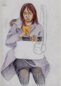 A woman I saw in the commuter train. 『タブレットを使うお姉さん』