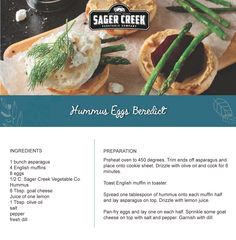 Hummus Eggs Benedict, made with all new Sager Creek Vegetable Company Hummus. #recipe