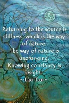 Returning to the source is stillness, which is the way of nature. The way of nature is unchanging. Knowing constancy is insight. ~ Lao Tzu.