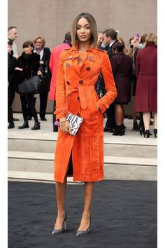 Jourdan Dunn is wearing a bright suede trench in today's style secret: