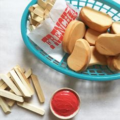 NEW Wooden Play Food : 6 Chicken Nuggets and by BYOImagination