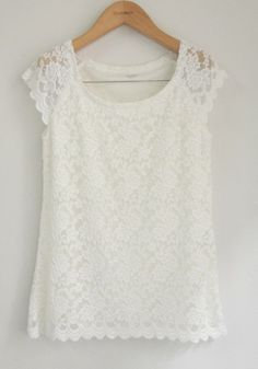 White Lace Floral Collarless Short Sleeve Lace T-shirt