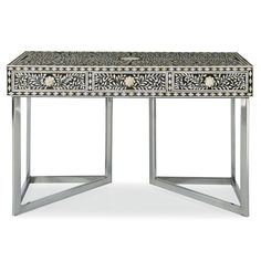 Bernhardt Interiors. Padma Desk - black and white, hand-cut bone inlay, polished stainless steel base