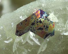 Pyrrhotite, Fe7S8, Furka Base Tunnel, Wallis, Switzerland. Colorful tarnished pyrrhotite crystal next to bright, siderite crystals. Fov about 2 mm. Collection/Copyright : Klaus Schäfer