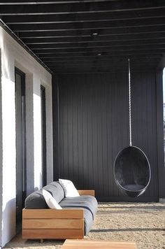 Terrace. Home. Outdoor Living. Modern. Hanging Seat. Wood. Black. Patio. Deck. Decor. Design. Home.