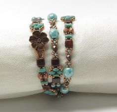 TRIPLE WRAP SUPERDUO Tile Bracelet - Umber Picasso Tiles - Turquoise Picasso Superduos and Rullas - Copper Flower Button - Boho-Tierra Cast by CinfulBeadCreations on Etsy