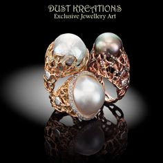 VULCANO COLLECTION.sculpture rings in  18kt gold, south sea pearls and diamonds. One of a kind