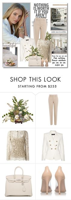 """""""Nothing is worth it if you aren't happy!!"""" by lilly-2711 ❤ liked on Polyvore featuring DKNY, Dolce&Gabbana, Balmain, Hermès and Gianvito Rossi"""