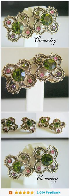Sarah Coventry Austrian Lites Clip Earrings / 1970s / Designer Signed / Colorful Pastel Rhinestones / Vintage Jewelry / Jewellery