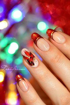 nail art noel fête noeud