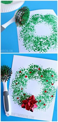 Dish Brush Wreath Craft Easy Christmas craft for kids to make! Easy and Fun DIY Christmas crafts for You and Your Kids to Have Fun. The post 35 Easy and Fun DIY Christmas Crafts for You and Your Kids to Have Fun appeared first on Easy Crafts. Kids Crafts, Toddler Crafts, Preschool Crafts, Easy Crafts, Creative Crafts, Crafts To Make, Preschool Learning, Christmas Decoration For Kids, Christmas Crafts For Kids To Make Toddlers