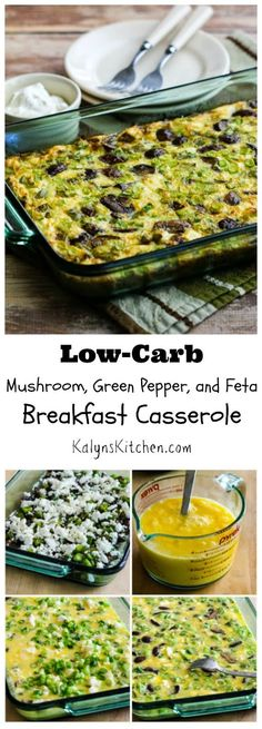 This Low-Carb Mushroom, Green Pepper, and Feta Breakfast Casserole is a perfect meatless breakfast dish to make on the weekend and eat all week.  (Gluten-Free, Meatless)  [from KalynsKitchen.com]
