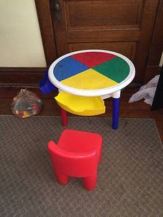 Tot Tutors Round Lego Table Storage Marvel Duplo Blocks Little Tikes Chair