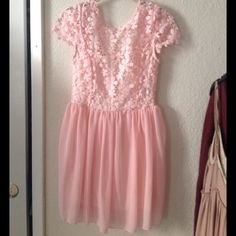 Pink lace dress Lace all over top, Love it! Would keep but too small on me Dresses Mini