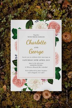 Stunning classic rose Wedding Invitation by Sail and Swan Studio. The design features blush pink roses, cream florals and other pale flowers with green leaves, as well as classic elegant writing in gold. Woodland Theme Wedding, Woodland Wedding Inspiration, Spring Wedding Inspiration, Blush Roses, Pink Roses, Blush Pink, Rose Wedding, Garden Wedding, Wedding Day