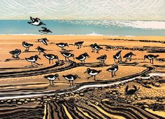 """Oystercatchers"" Linocut by Rob Barnes. http://www.robbarnesart.co.uk/ Tags: Linocut, Cut, Print, Linoleum, Lino, Carving, Block, Woodcut, Helen Elstone, Birds, Landscape, Sea, Sky"