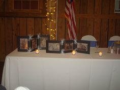 I made a photo display for my son's wedding. I used picture frame mats ans vellum paper, punched a few holes and tied with tulle. Place candles behind to add a sparkle and glow.