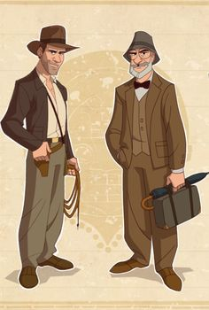 Indiana Jones and his father. Cartoon drawing