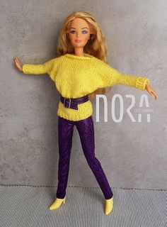 Bat sleeves Barbie and 16 knitted sweater