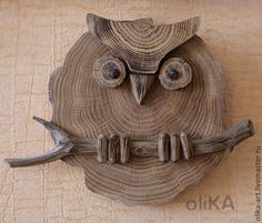 Fair Masters - p . - Wood How to Crafts Wood Log Crafts, Wood Slice Crafts, Driftwood Projects, Driftwood Art, Wooden Art, Wood Wall Art, Wooden Desk, Wood Owls, Owl Crafts