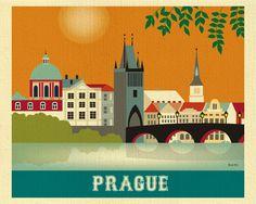 Prague Skyline Print, Prague Art, Czech Republic Wall Art, Retro Prague horizontal Travel Artwork, P Retro Poster, Vintage Travel Posters, Visit Prague, America Images, Prague Czech Republic, Voyage Europe, Art Images, Art Prints, Modern Prints